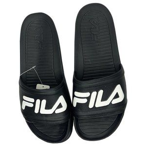 NWT FILA MENS BLACK SLIP ON SLIDE ATHLETIC SANDALS